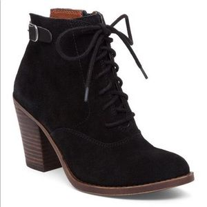 Lucky brand echoh suede lace up black bootie boot